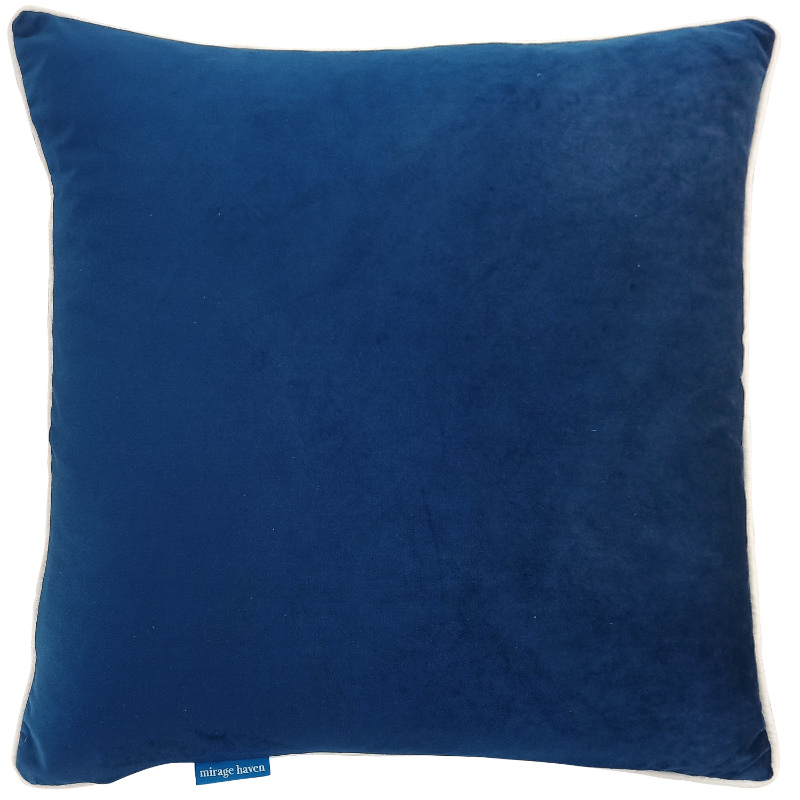 GRANGE Dark Blue Velvet White Piping Cushion Cover 50 cm by 50 cm