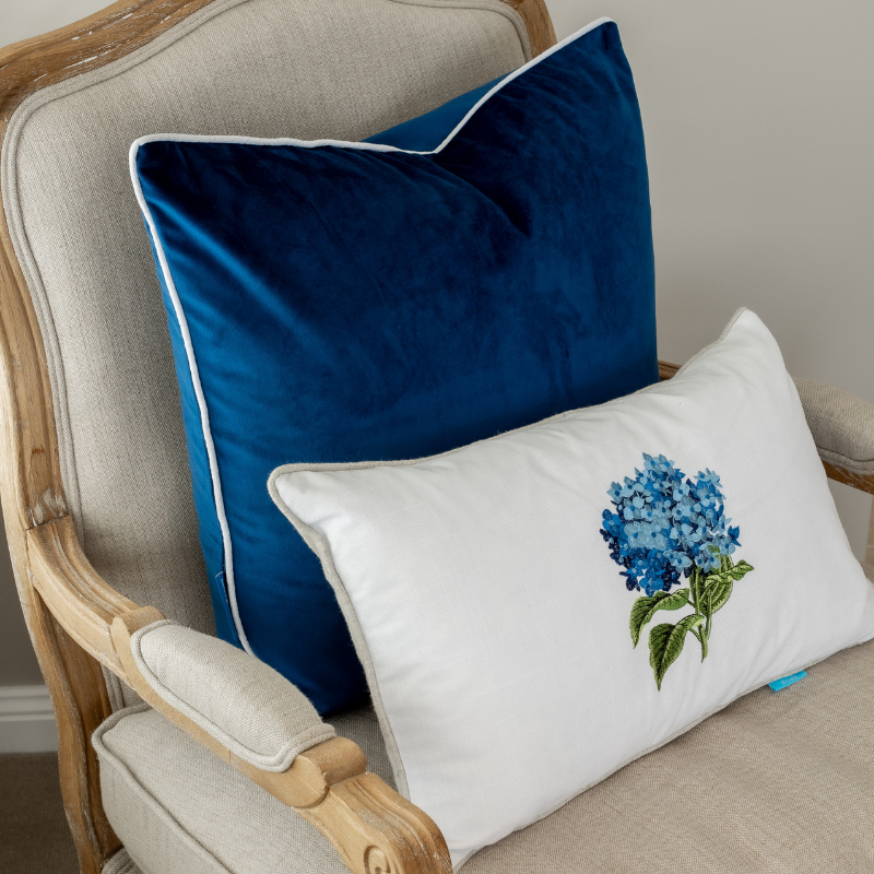 Hydrangea Blue and White Cushion Cover | Hamptons Home