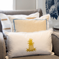HABANA White and Gold Pineapple Cushion Cover 30 cm by 50 cm
