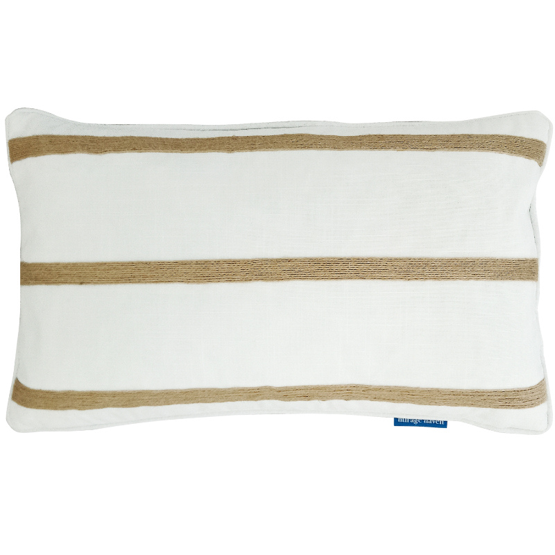 Mirage Haven INDEE White and Hemp Triple Stripe Cushion Cover