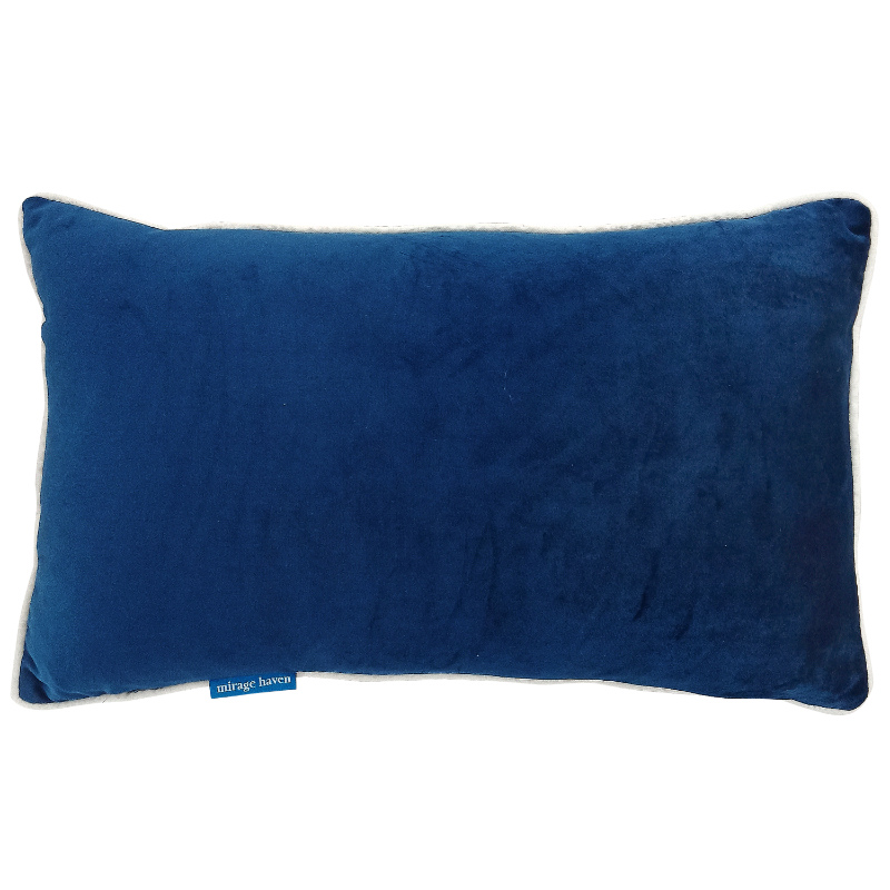 GRANGE Dark Blue Velvet White Piping Cushion Cover 30 cm by 50 cm