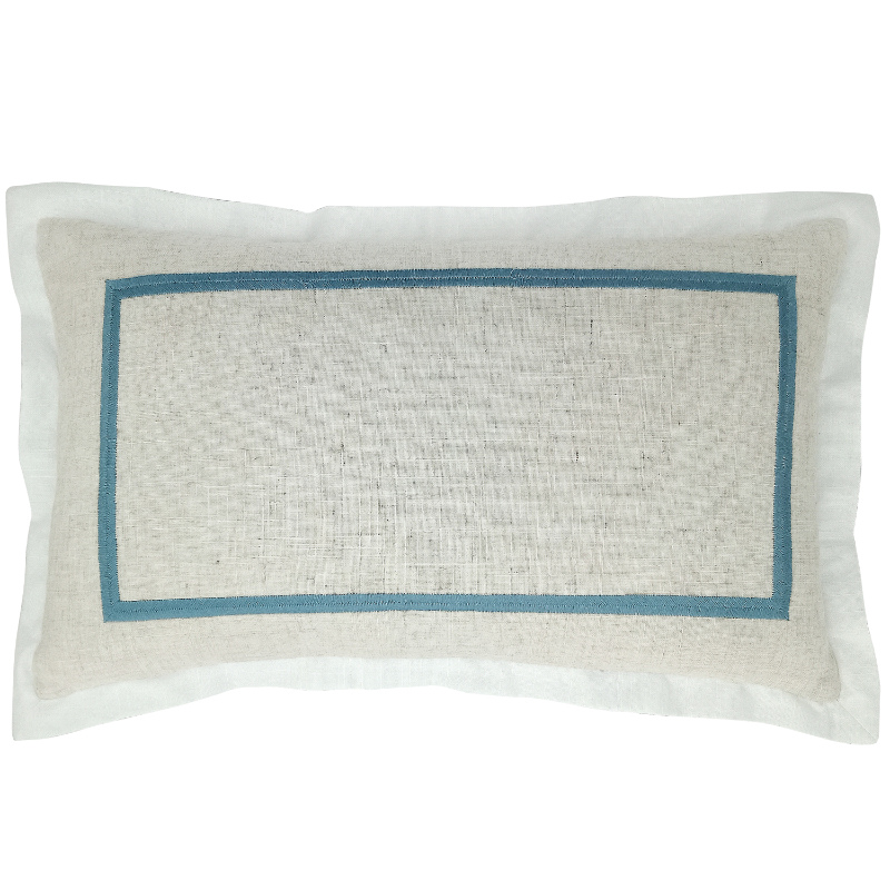 Mirage Haven JERUK Duck Egg Blue Flange Linen Cushion Cover