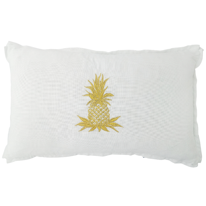 Mirage Haven HABANA White and Gold Pineapple Cushion Cover