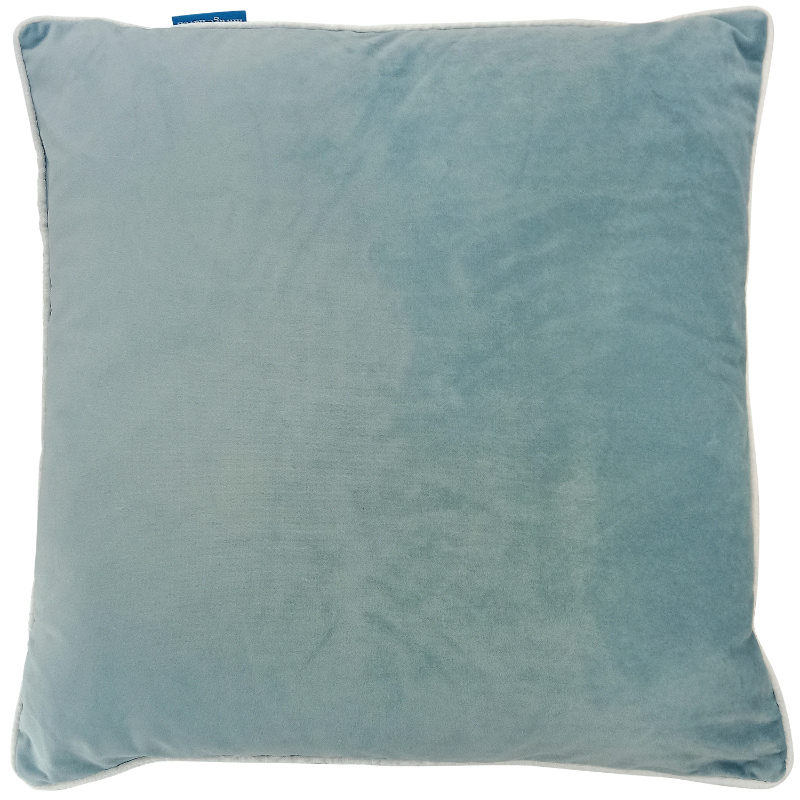 GRANGE Duck Egg Blue Velvet White Piping Cushion Cover 50 cm by 50 cm