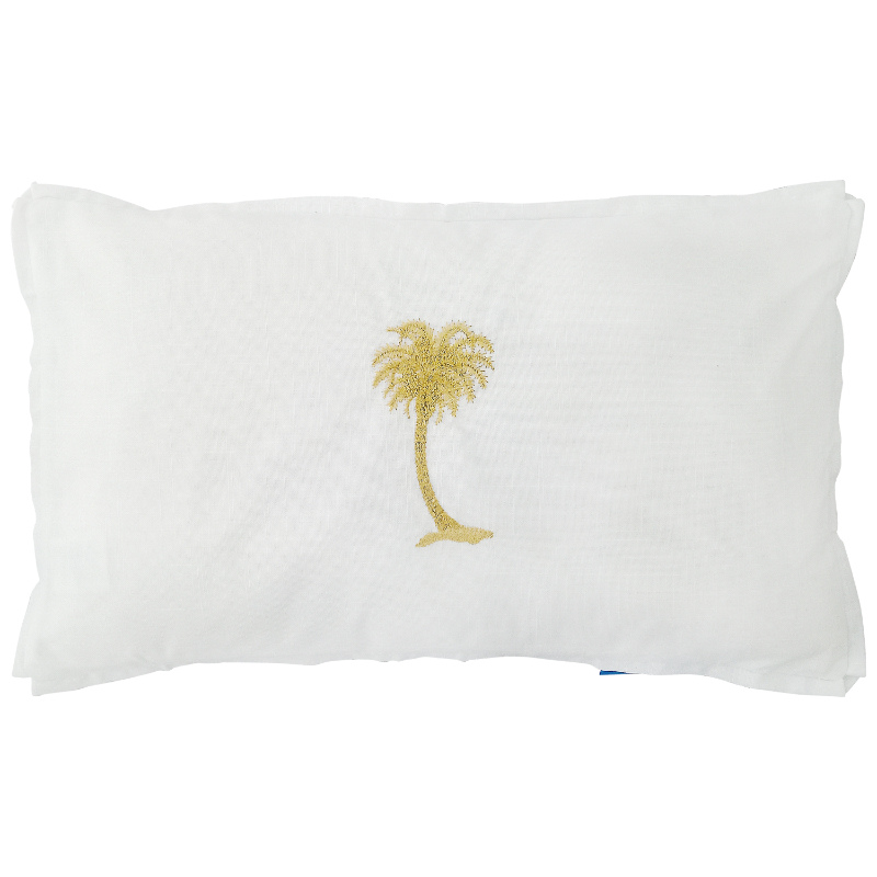 Mirage Haven HABANA White and Gold Palm Tree Cushion Cover