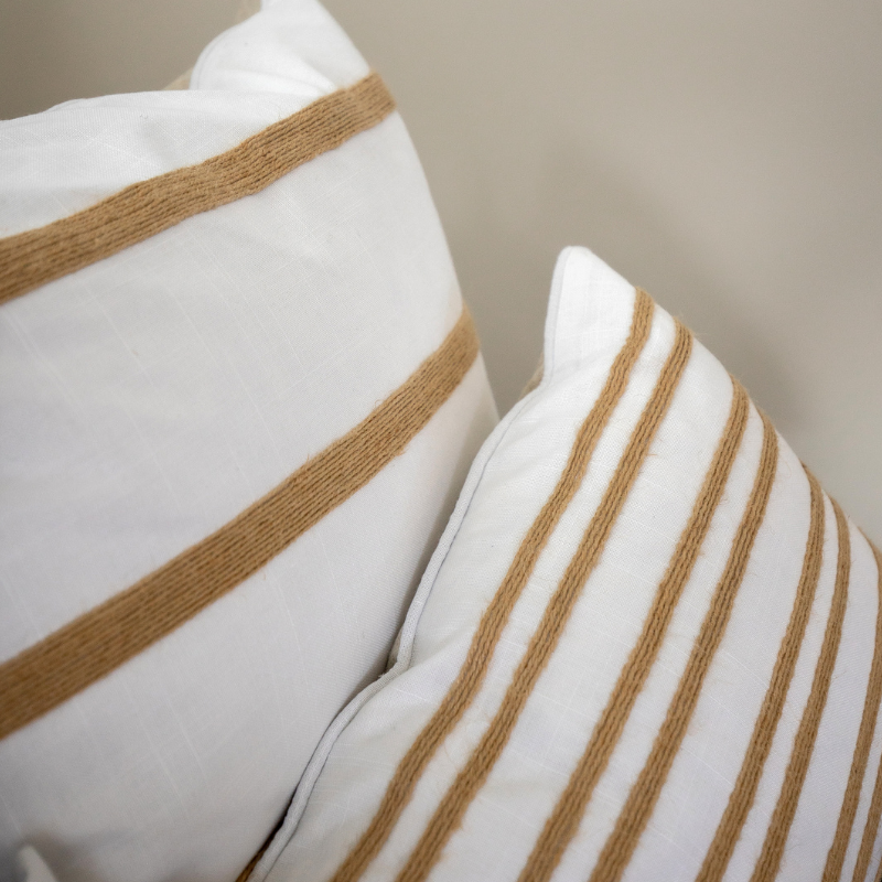 Mirage Haven INDEE White and Hemp Double Stripe Cushion Cover