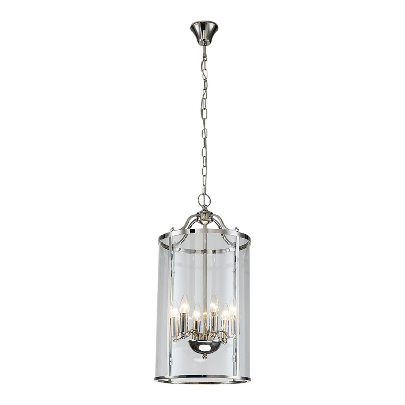 Hamptons Home ASTOR Six Light Round Pendant in Nickel