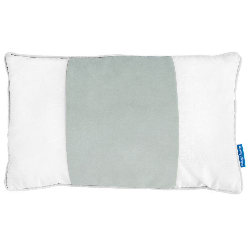 BADEN Fog Blue and White Panel Velvet Cushion Cover 30 cm by 50 cm