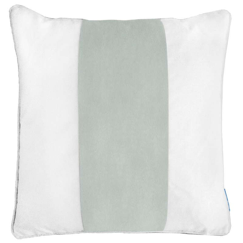 BADEN Fog Blue and White Panel Velvet Cushion Cover 50 cm by 50 cm