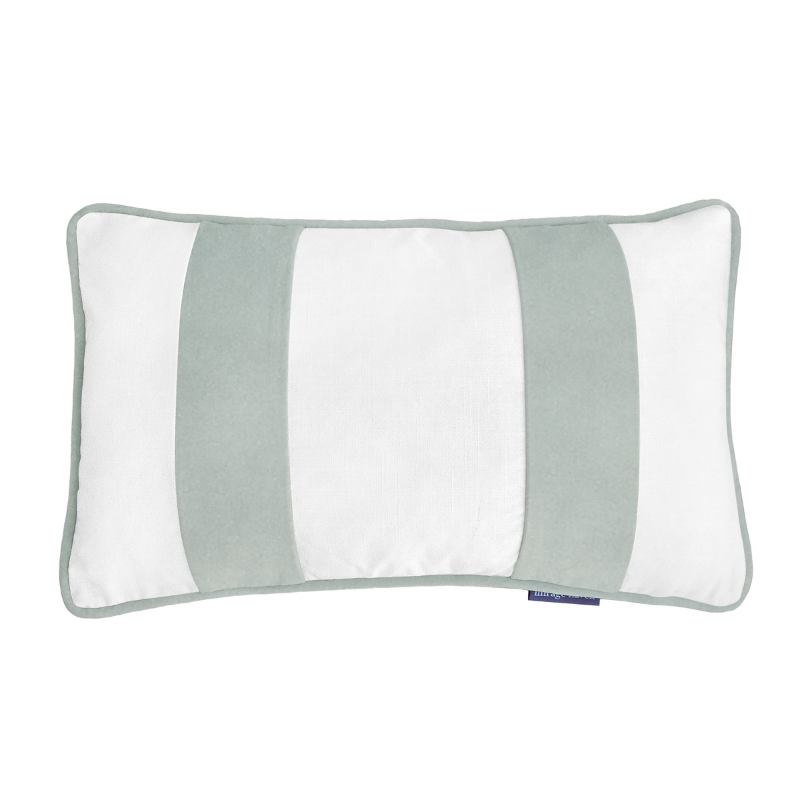 BADEN White and Fog Blue Velvet Twin Strip Cushion Cover 30 cm by 50 cm