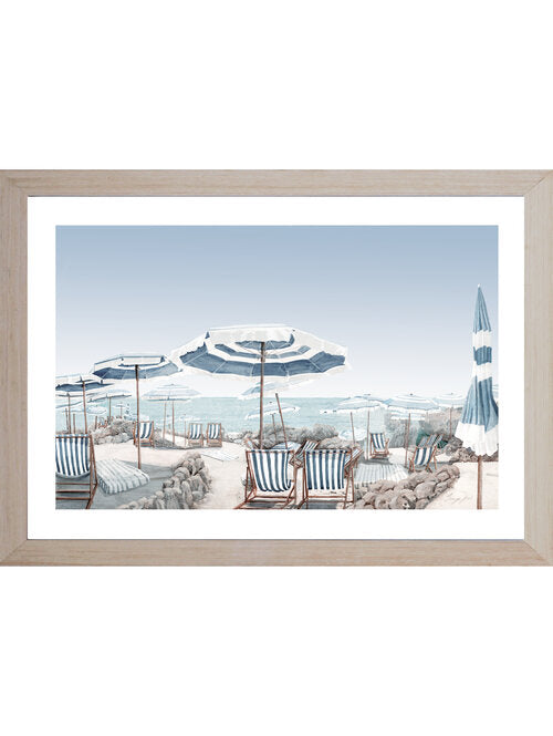 Hamptons Coastal Beach Parasol (Design 1 ) Framed Wall Art 102 cm x 72 cm