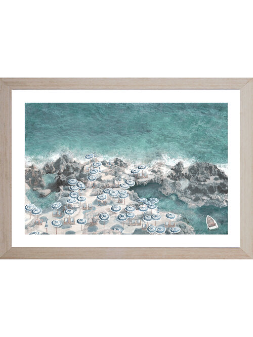 Coastal Beach Parasol Framed Wall Art | Hamptons Home