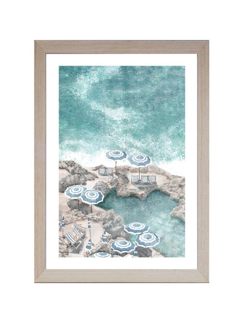Hamptons Coastal Beach Parasol (Design 4 ) Framed Wall Art 102 cm x 72 cm
