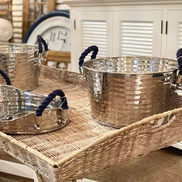 Hamptons Home Havana Blue Rope Wine Cooler 52 cm L