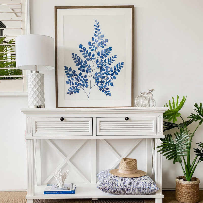 Hamptons Home Blue Maiden Hair Fern Print