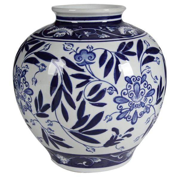 Blue and White Floral Vase 23 cm H