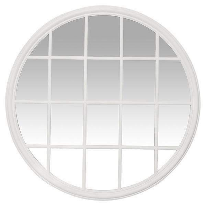 Hamptons Home CHLOE White Round Paned Mirror