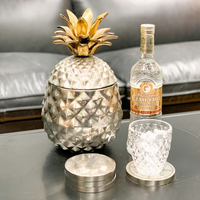 Chrome Pineapple Ice Bucket With Gold Top 33 cm H