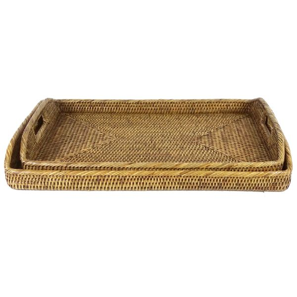 Hamptons Home DEJA Rattan Tray Natural Brown Set of 2