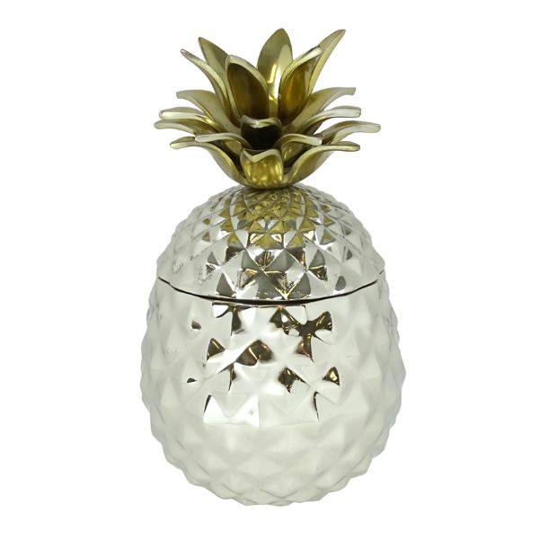 Hamptons Home Chrome Pineapple Ice Bucket With Gold Top
