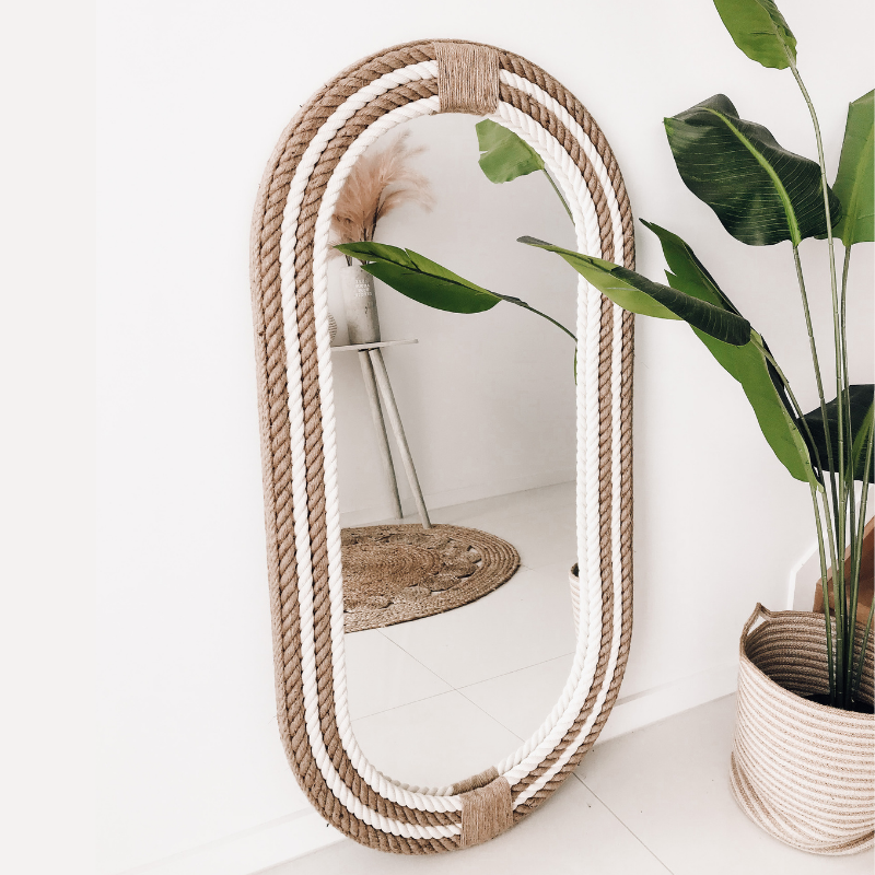 Dream Of Lines Oval Rope Mirror | Hamptons Home