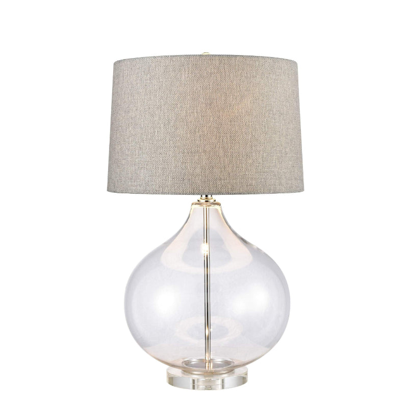 Eloise Glass Table Lamp with Weaved Shade | Hamptons Home
