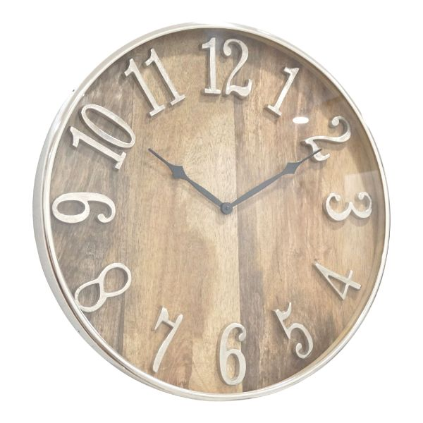 Edward Mango Wall Clock with Silver Rim 51 cm Dia