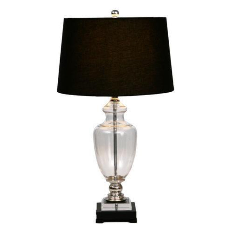 Glass Black Lamp with Black Shade | Hamptons Home