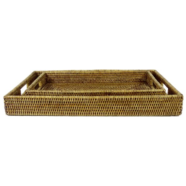 Hamptons Home ARIA Natural Brown Rectangle Rattan Tray Set of 2