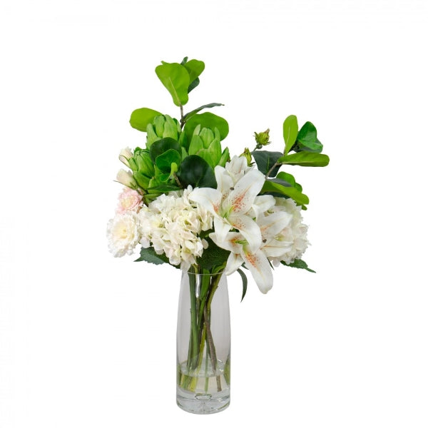 Hamptons Home Hydrangea Mixed Lily Arrangement in Resin