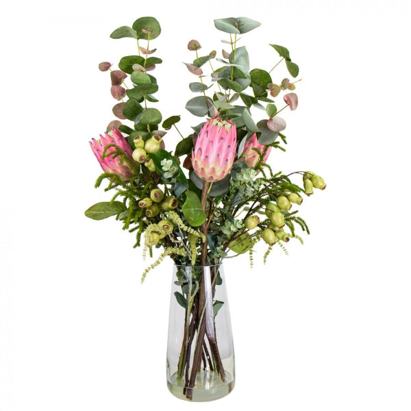Hamptons Home Pink Protea Native Arrangement in Vase