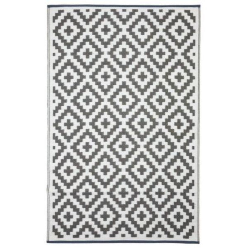 Hamptons Home AZTEC Grey and White Outdoor Rug