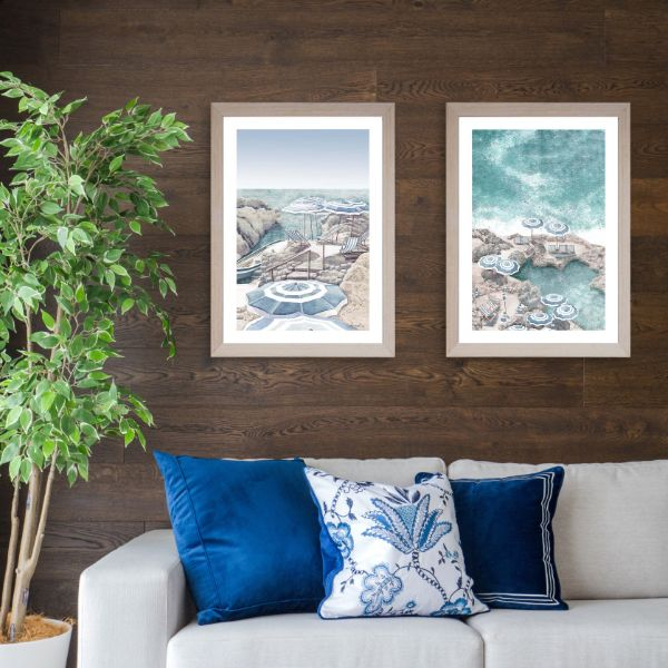 Hamptons Coastal Beach Parasol (Design 3 ) Framed Wall Art 102 cm x 72 cm