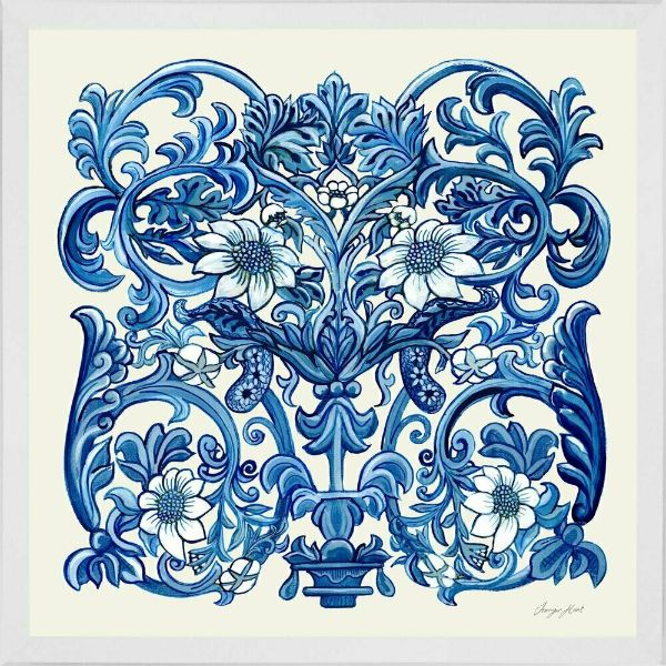 Blue and White Bird Panel Framed Wall Art | Hamptons Home