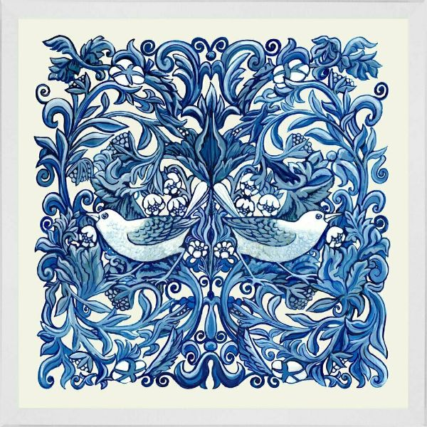 Hamptons Home Blue and White Bird Panel (Design 2) Framed Wall Art 54 cm by 54 cm