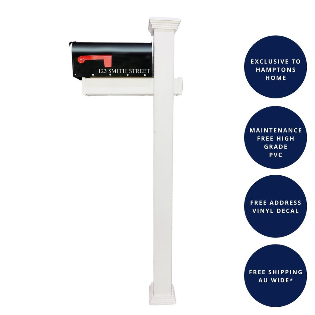 CAPE COD PVC Freestanding US Style Letterbox Set | Hamptons Home