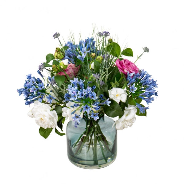 Hamptons Home Camellia and Agapanthus Mixed Arrangement in Vase