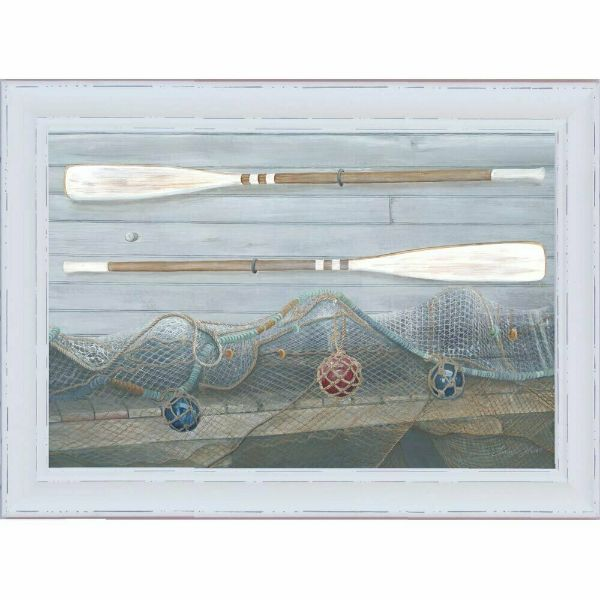 Hamptons Home Oars (Design 1) White Washed Timber Frame 102 cm by 72 cm