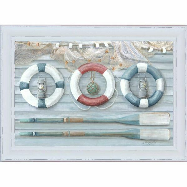 Hamptons Home Oars (Design 2) White Washed Timber Frame 102 cm by 72 cm