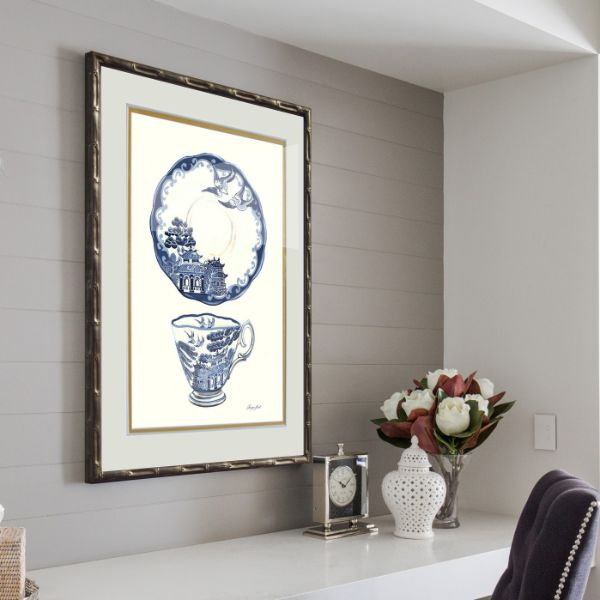 Hamptons Blue and White Tea China Framed Wall Art 54 cm by 74 cm (Design 2)