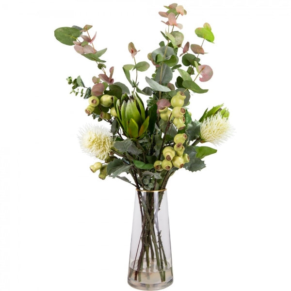 Hamptons Home Protea Mixed Banksia Arrangement in Glass Vase
