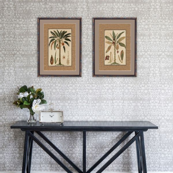 Hamptons Home Dark Rattan Banana Palm Framed Artwork