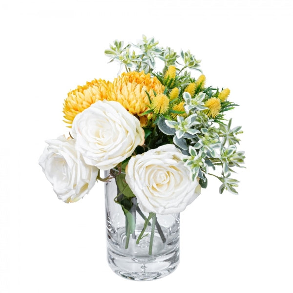 Hamptons Home Real Touch Rose And Chrysanthemum Mixed Arrangement in Vase