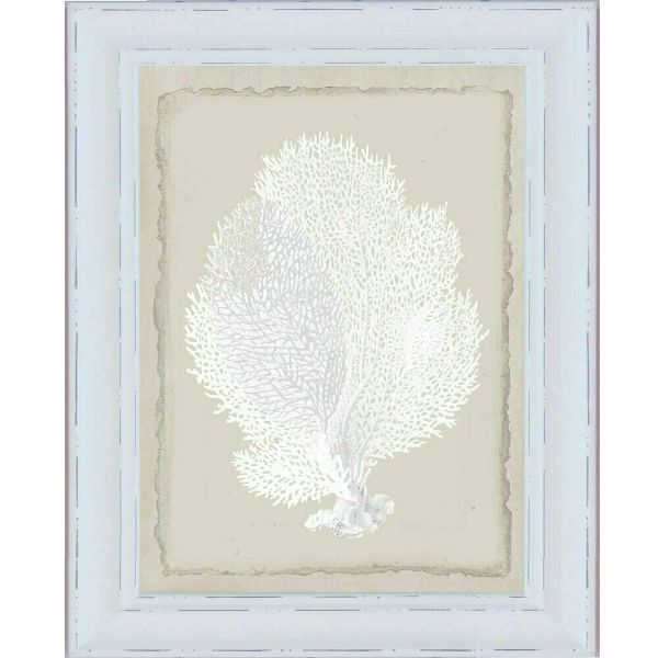 Hamptons White Coral White Framed Wall Art (Design 2) 61cm x 52cm x 2cm