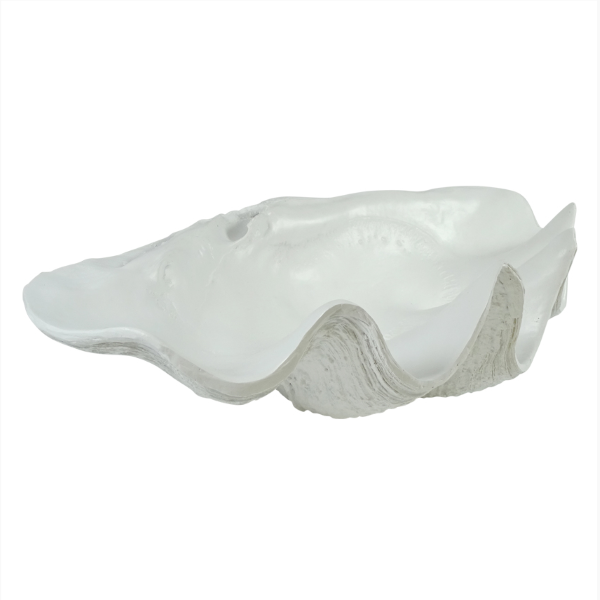 Hamptons Home Matt White Large Faux Clam Shell Decor