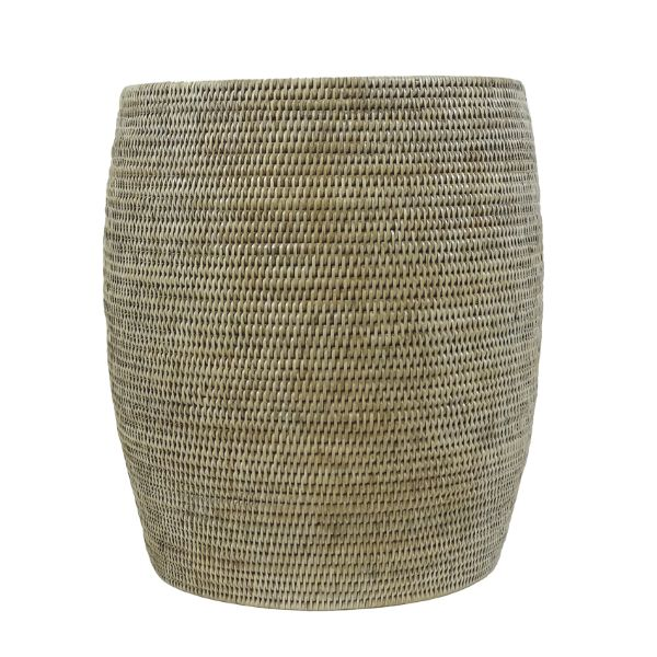 Hamptons Home SERAYA Rattan Drum Stool White Wash