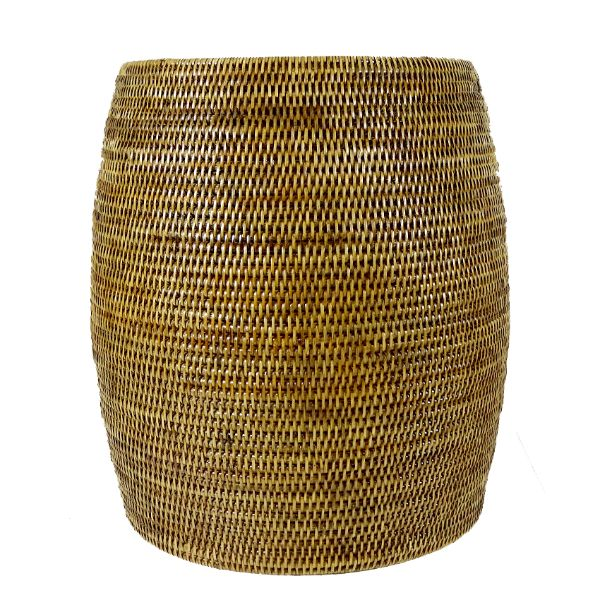Hamptons Home  SERAYA Rattan Stool Natural Brown