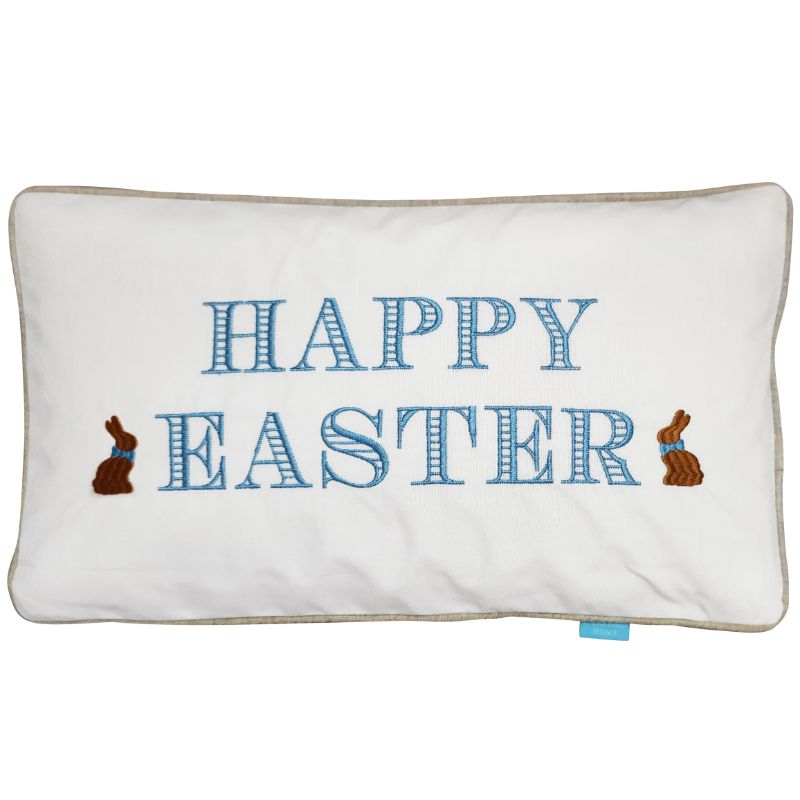 Happy Easter Bunny Sky Blue and White Cushion Cover 30 cm by 50 cm | Hamptons Home