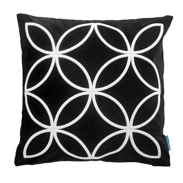 DARLEY Black and White Circle Pattern Embroidered Velvet Cushion Cover 50 cm by 50 cm