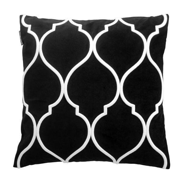 DARLEY Black and White Trellis Embroidered Velvet Cushion Cover 50 cm by 50 cm